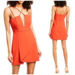 BCBGMazaria orange Dress mesh V sz 8